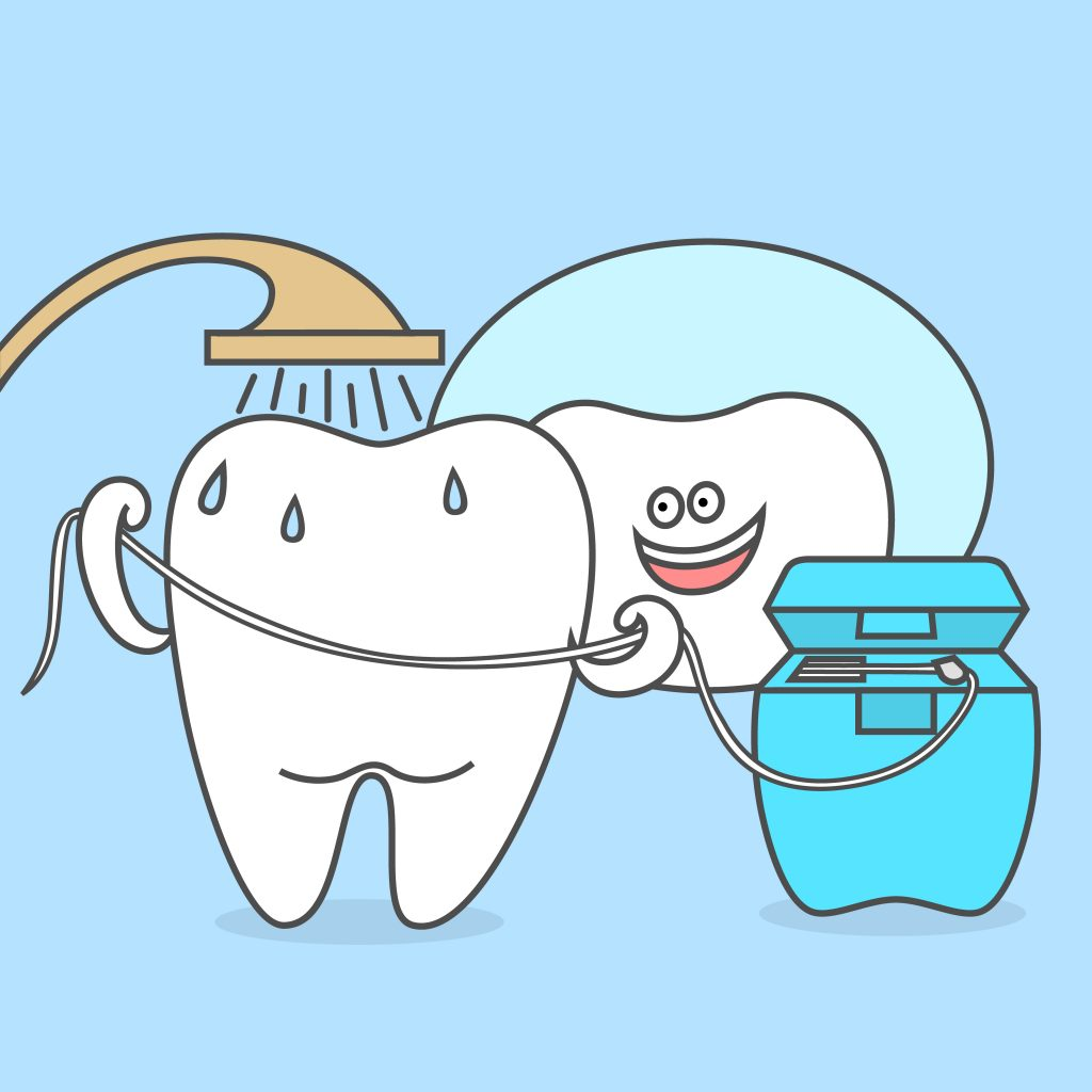 cartoon tooth flossing and showering